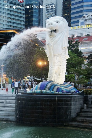 the Merlion Park - one of the famous tourist spots in Singapore