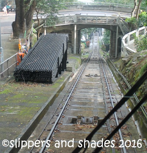the tram railway on its way to the steep slope