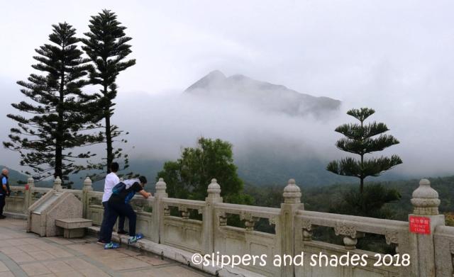 the foggy view of the Lantau Island