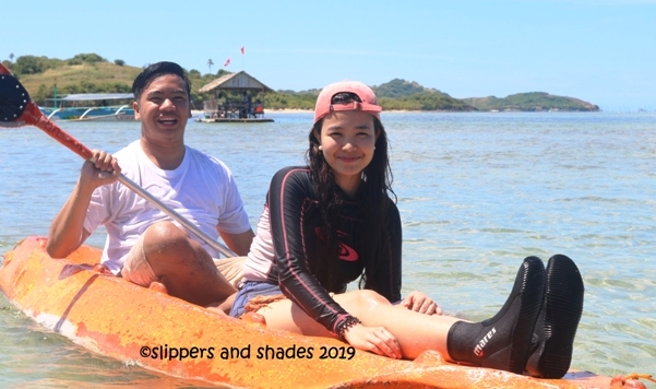 Pao and Coleen enjoyed paddling on the blue green waters
