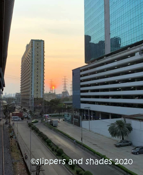 the beautiful sunrise in Bangkok
