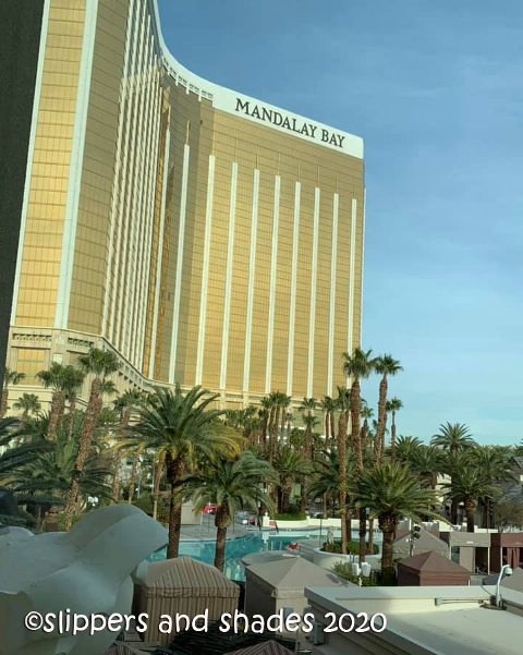 the shimmering gold building of Mandalay Bay