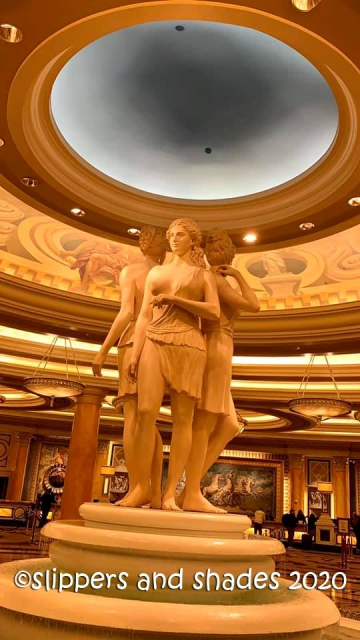 the goddesses at the entrance of Caesars Palace